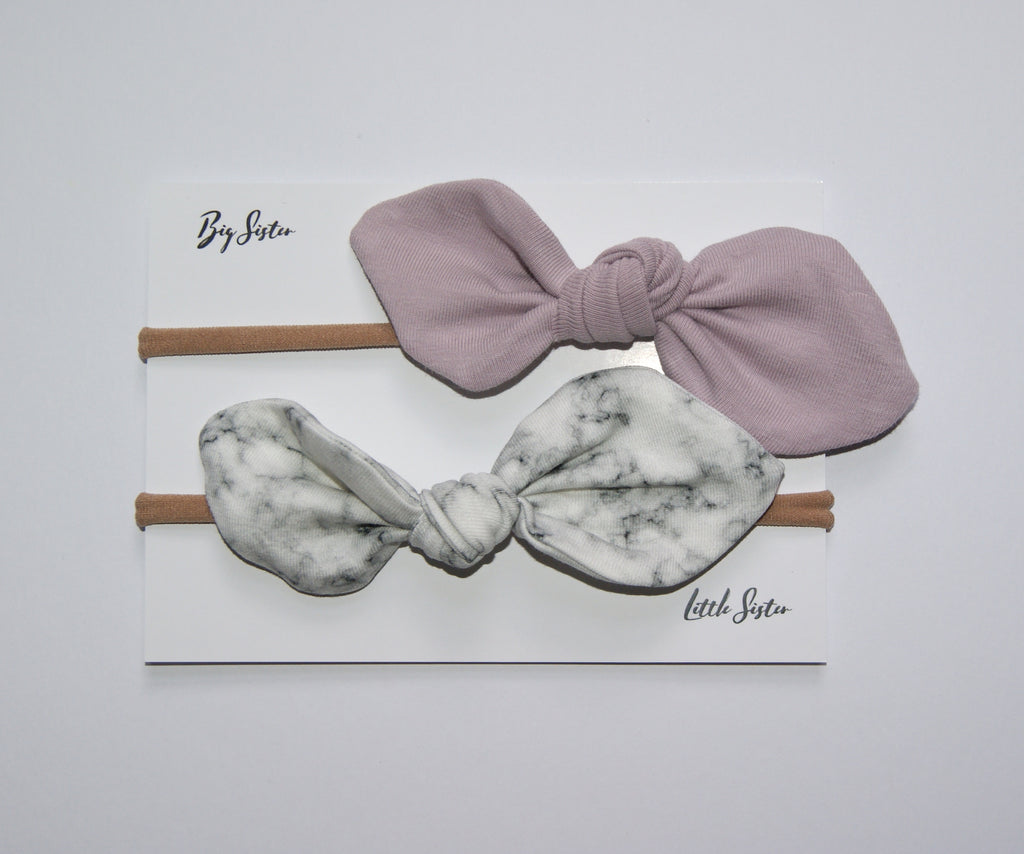 Pink and Marble bow set