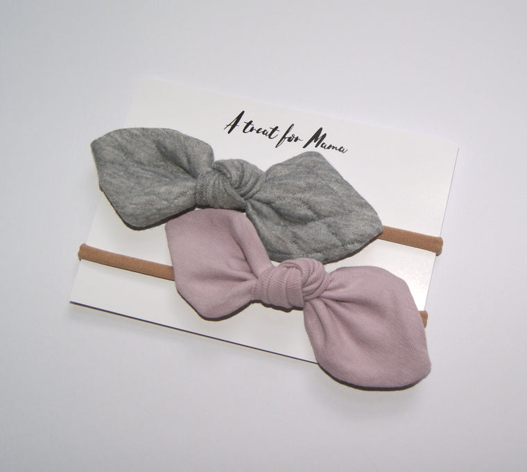 Grey and Pink Baby Bow gift set