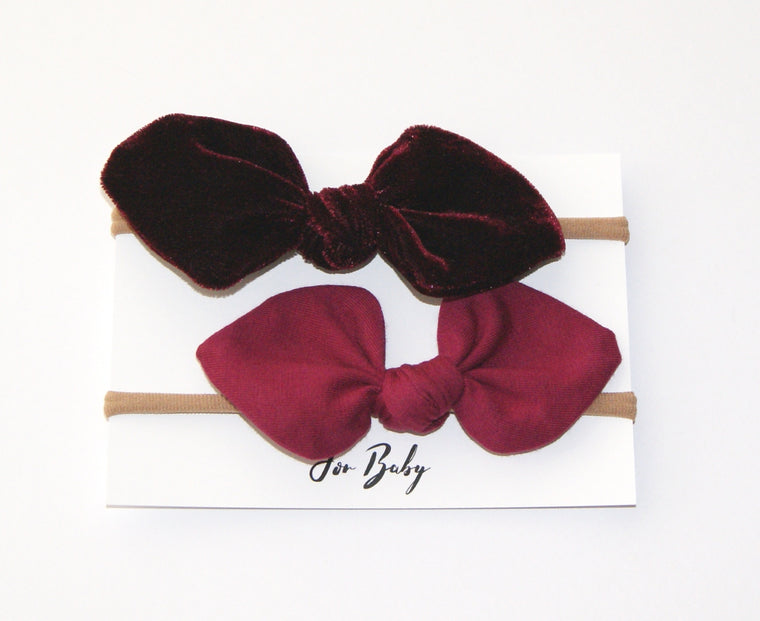 Small Bow set- Christmas Red velvet
