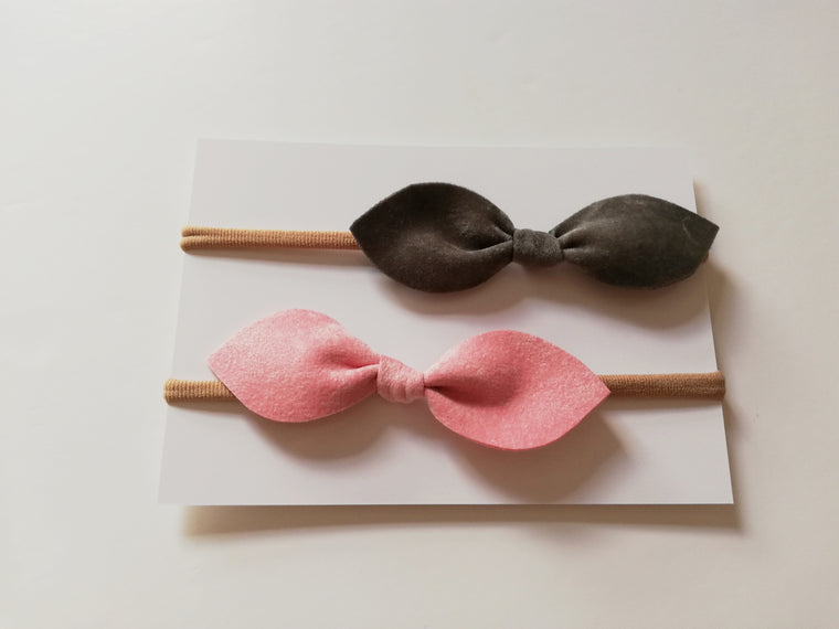 Velvet Hair Bow Duo- Pink and Grey