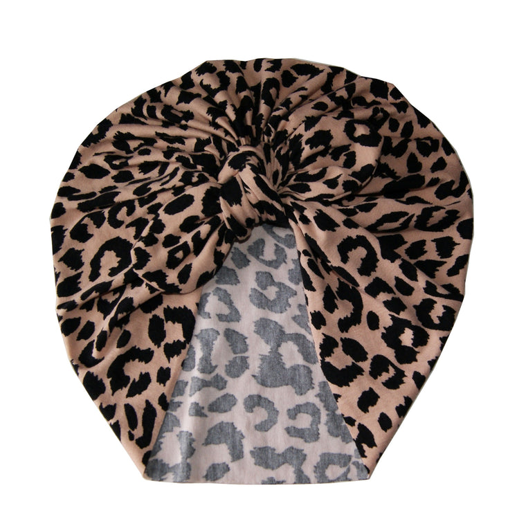 Cheetah print Baby turban with Bow