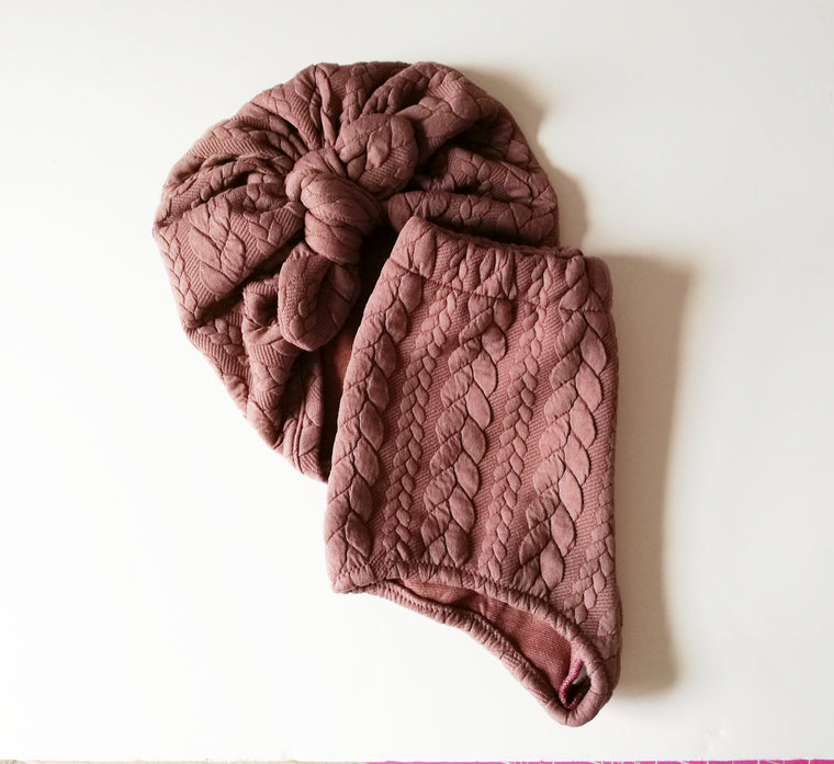 Mauve cable knit Baby turban with Bow
