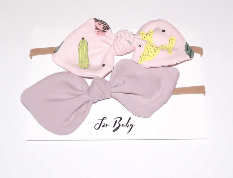 pink and cactus hair bow set for girls