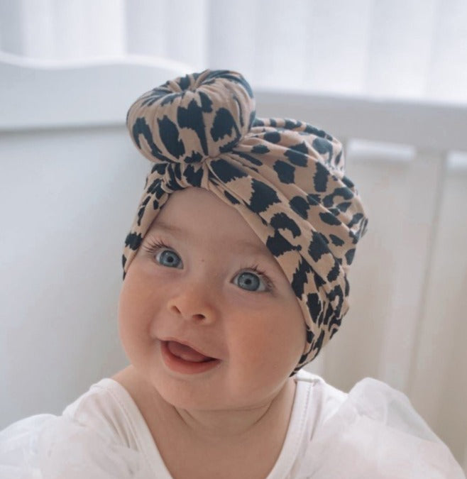 Cheetah print Baby turban with Donut