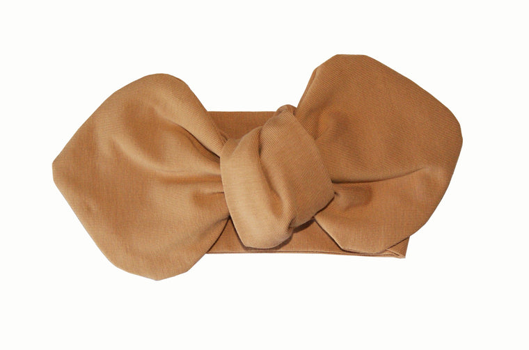 Baby Headwrap Bow in Latte