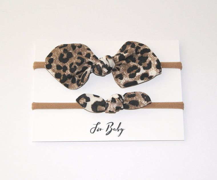 Mini Hair Bow Duo- Leopard print