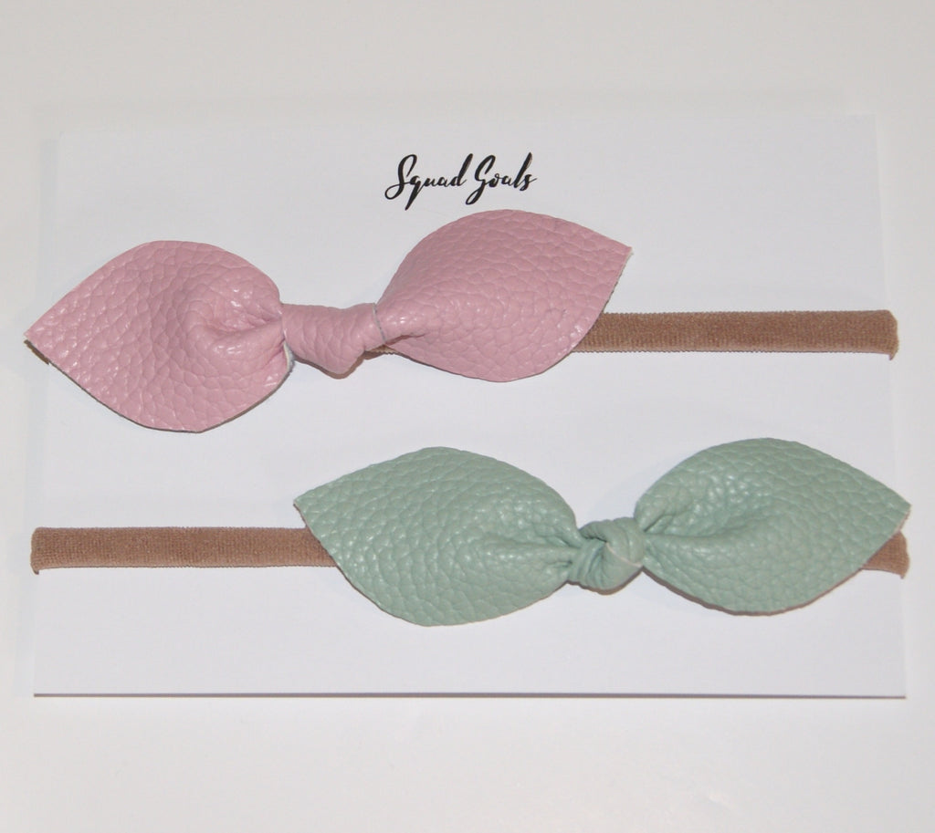 Leather Hair Bow Duo- Mint and Pink