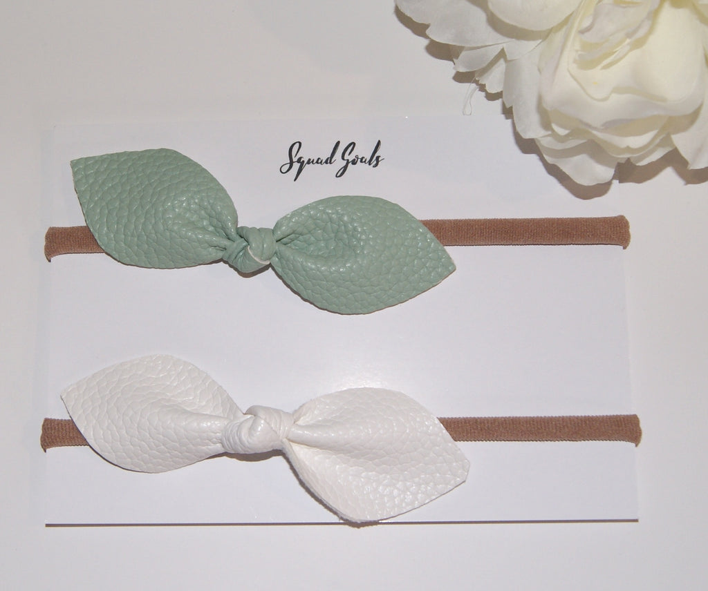Leather Hair Bow Duo- Mint and White