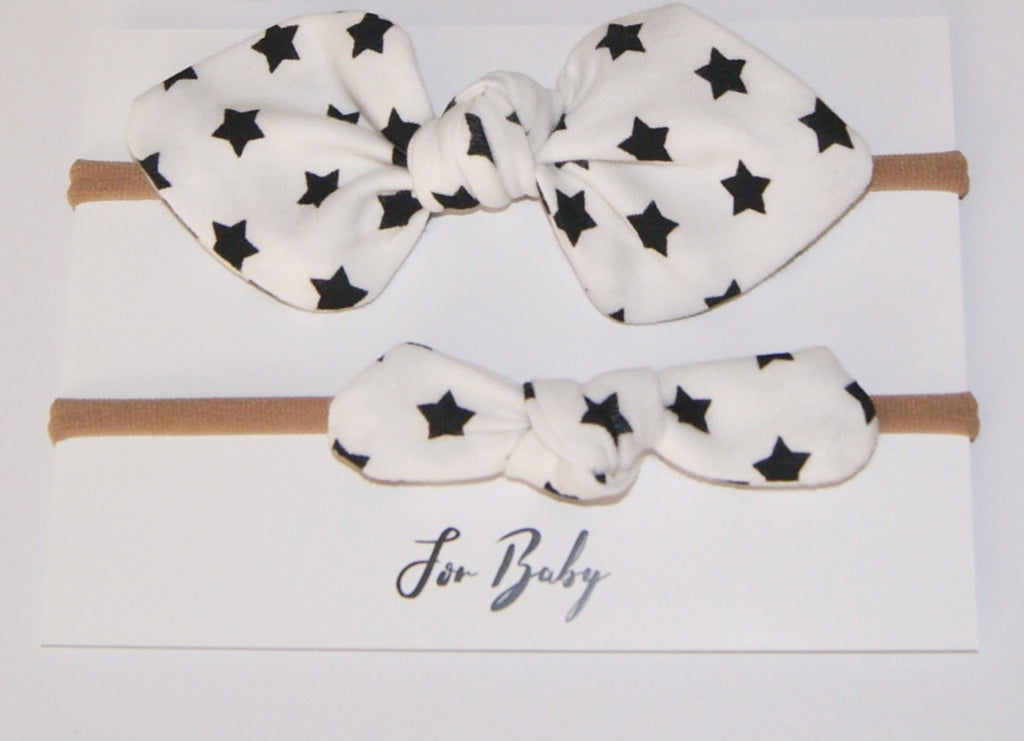 Mini Hair Bows set, Monochrome star print