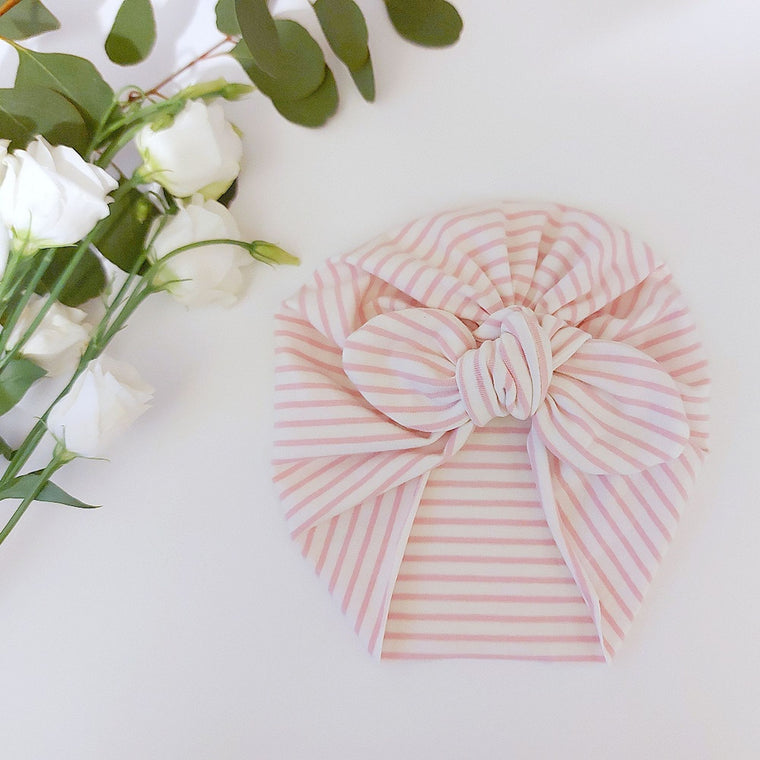 Baby turban with Bow- Pink stripe