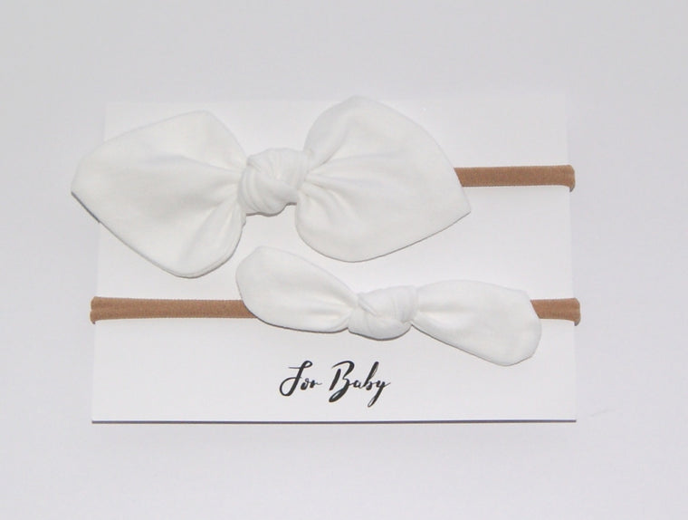 White baby girl hairband set