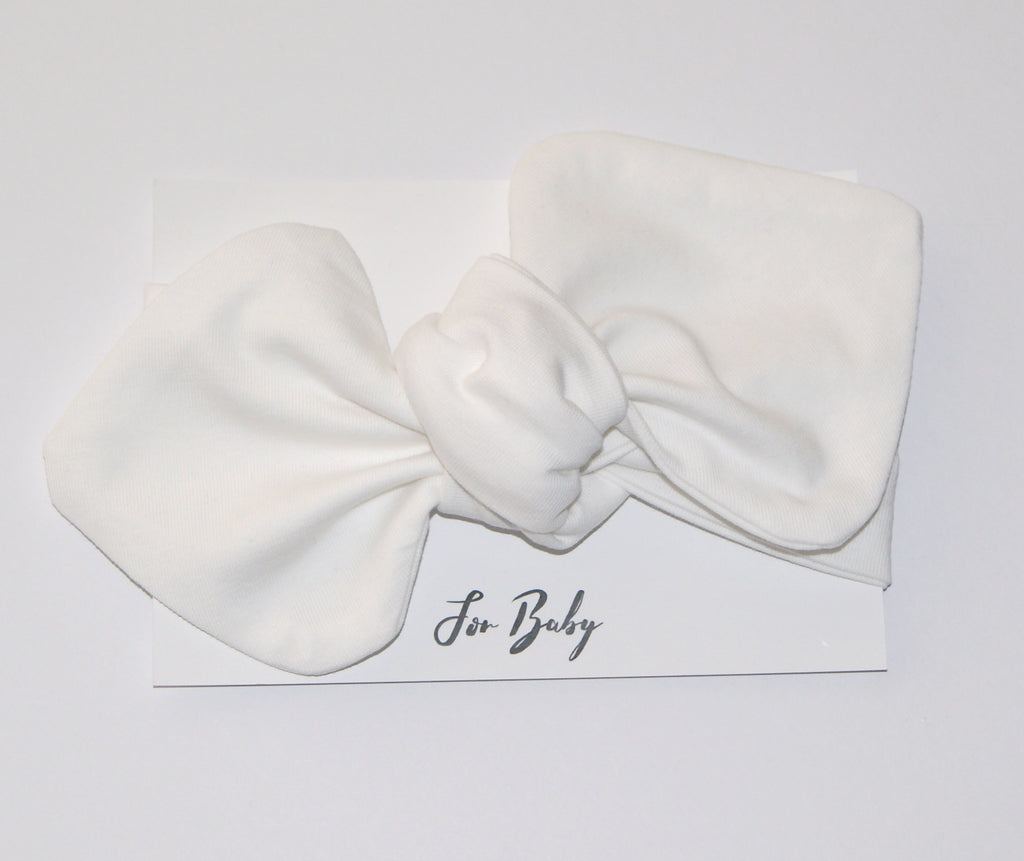 Baby Headband Bow in White
