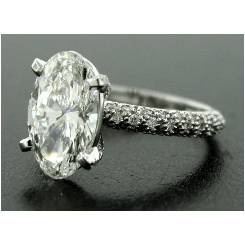 Custom 14k White Gold Oval Diamond Engagement Ring