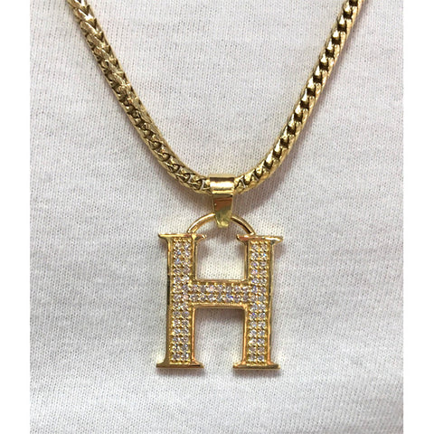 Custom 18k Yellow Gold H Pendant Diamonds.