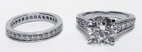 Custom Platinum and Diamond Engagement Ring and Wedding Band by Mander Jewelry