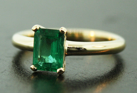 Custom 14k Yellow Gold Emerald Ring