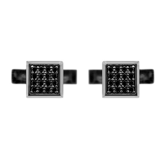 Silver Cuadrado Cufflinks Black Diamonds - Mander Jewelry