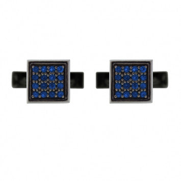 Blackened Silver Blue Sapphire Cufflinks Cuadrado - Mander Jewelry