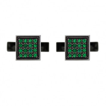 Blackened Silver Cuadrado Cufflinks Emerald - Mander Jewelry