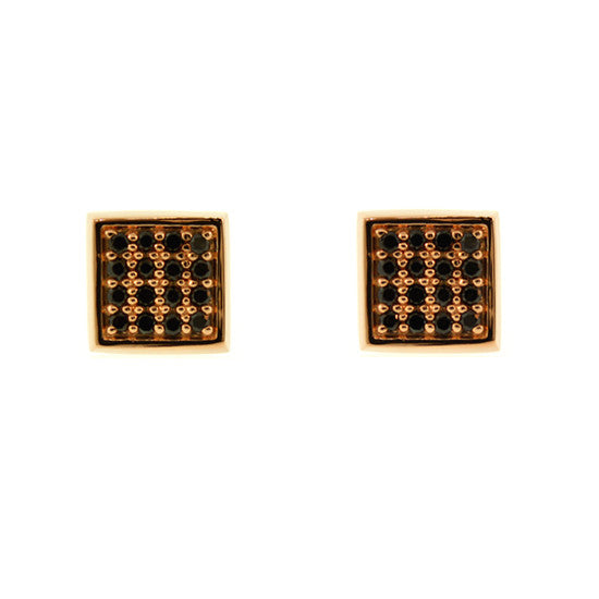 18k Rose Gold Cuadrado Earrings Black Diamonds - Mander Jewelry