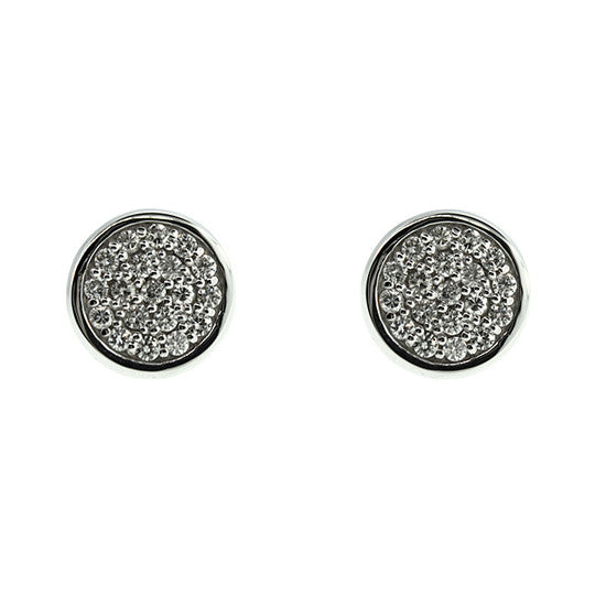 18k White Gold Diamond Earrings Redondo - Mander Jewelry