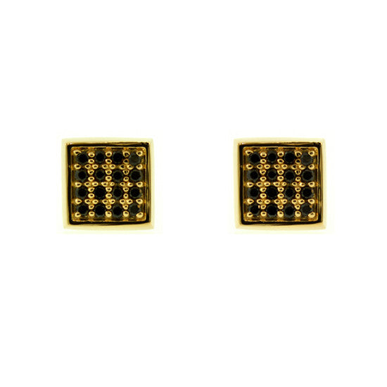 18k Yellow Gold Cuadrado Earrings Black Diamonds - Mander Jewelry