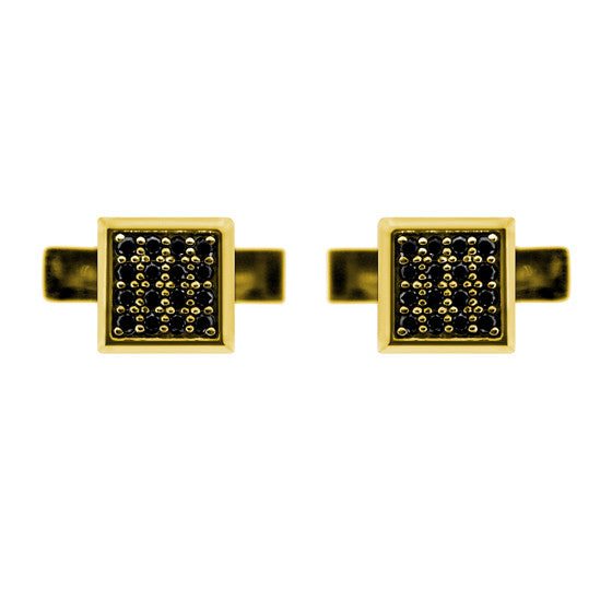 18k Yellow Gold Cuadrado Cufflinks Black Diamonds - Mander Jewelry