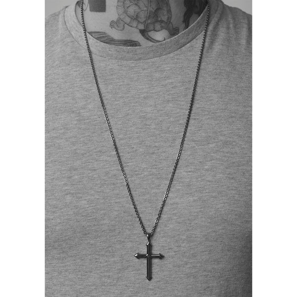 14k White Gold Cross Pendant Archer for Men - Mander Jewelry