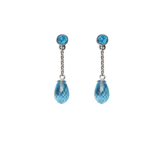 Silver Blue Topaz Briolette Drop Earrings - Mander Jewelry