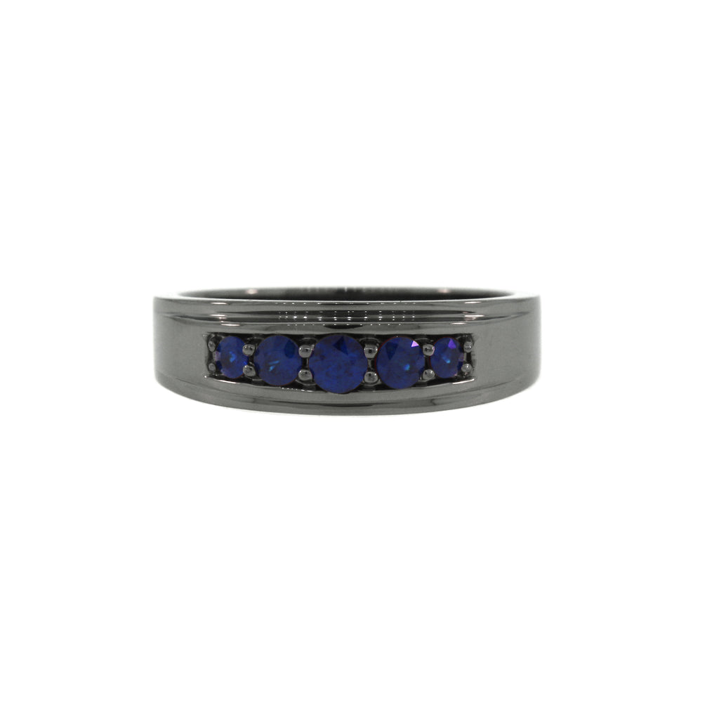 Blackened Silver Graduado Ring Blue Sapphires - Mander Jewelry