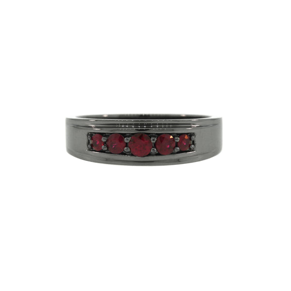 Blackened Silver Graduado Ring Ruby - Mander Jewelry