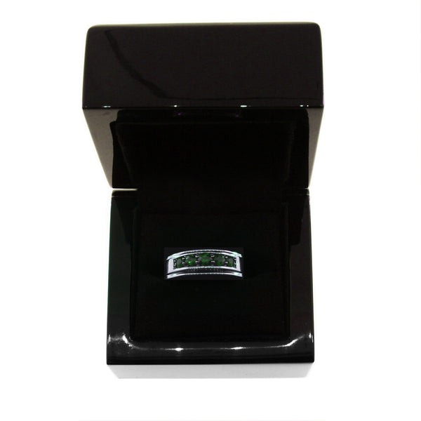 Blackened Silver Graduado Ring Emeralds - Mander Jewelry