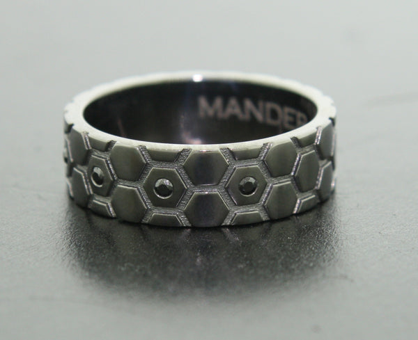 Blackened 14k Gold and Black Diamond Ring for Men Hexagons - Mander Jewelry