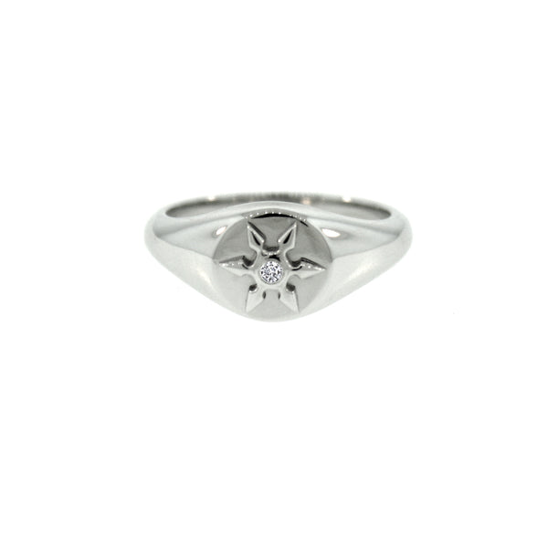 14k White Gold Ninja Star Diamond Signet Ring for Women - Mander Jewelry