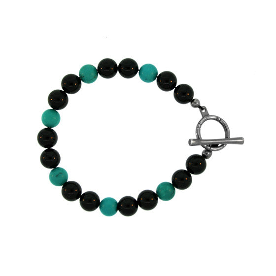 Black Onyx Turquoise 8mm Spirit Bead Bracelet Silver Black Diamonds - Mander Jewelry