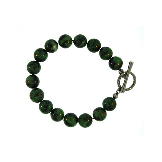 Ruby Zoisite 10mm Spirit Bead Bracelet Blackened Silver Black Diamonds