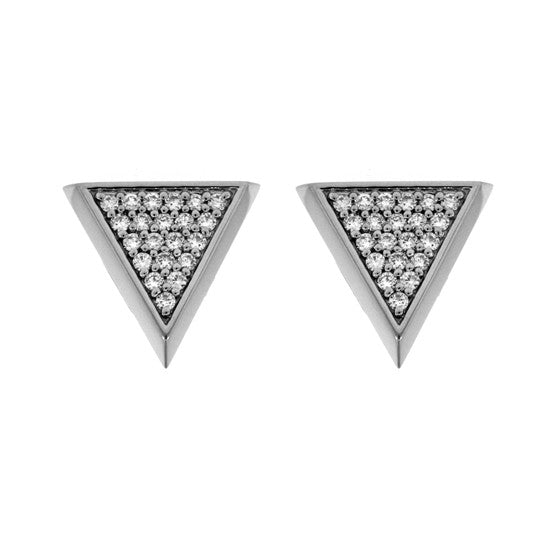 18k White Gold Large Tres Puntos Earrings Diamonds - Mander Jewelry