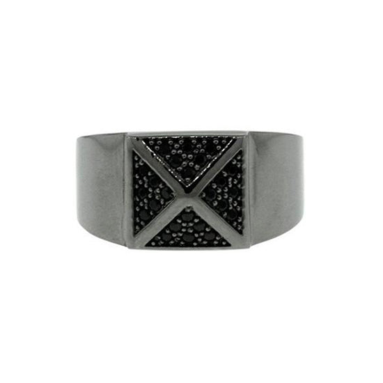Blackened 18k White Gold Black Diamond Ring St Marks for Men by Mander Jewelry