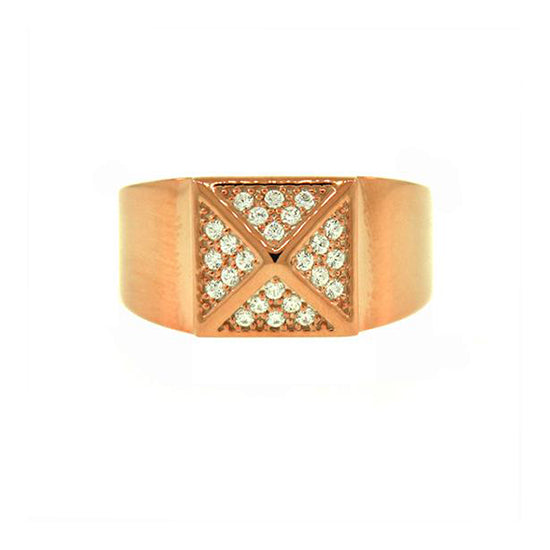 18k Rose Gold Diamond Ring St Marks Bold for Men by Mander Jewelry.