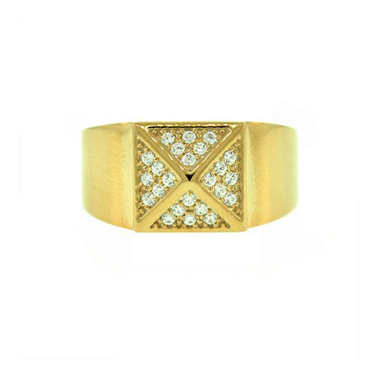 18k Yellow Gold Diamond Ring St Marks for Men by Mander Jewelry.