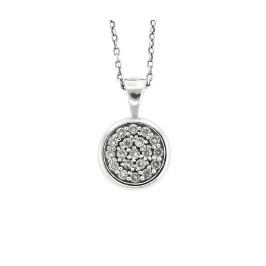 18k White Gold Diamond Pendant Redondo - Mander Jewelry