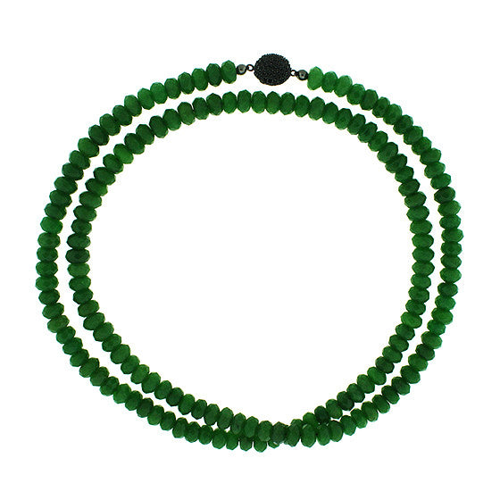 Aventurine Quartz 8mm Spirit Bead Necklace Silver Black Spinel - Mander Jewelry