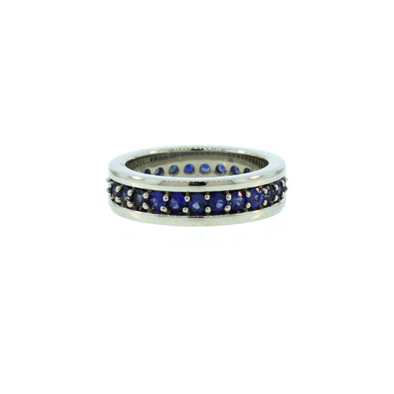 Silver Merrick Eternity Ring Blue Sapphires