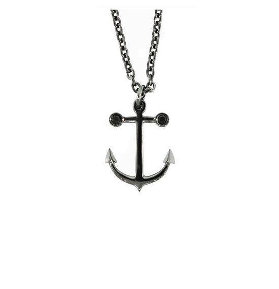 Blackened Silver Anchor Pendant Ancla Black Diamonds for Women - Mander Jewelry
