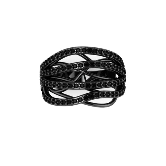 Blackened 18k White Gold Black Diamond Ring Atlantic by Mander Jewelry.
