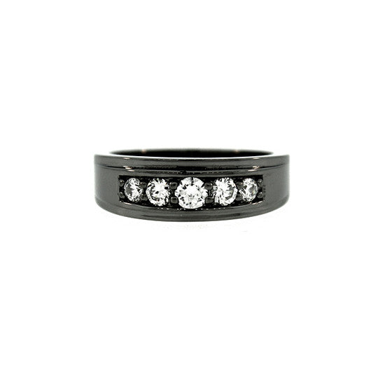 Blackened 18k White Gold Graduado Ring Diamonds - Mander Jewelry