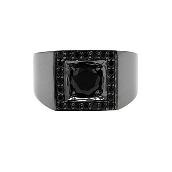 Blackened 18k Gold Black Diamond Ring Jefe - Mander Jewelry