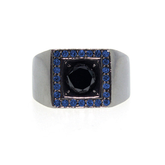 Blackened 18k Gold Jefe Ring Black Diamond Blue Sapphire - Mander Jewelry
