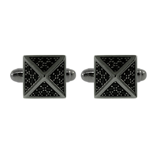 Blackened Silver St Marks Black Diamond Cufflinks - Mander Jewelry