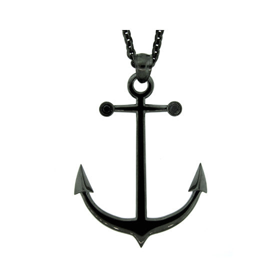 Blackened Silver Ancla Anchor Pendant Black Diamonds - Mander Jewelry